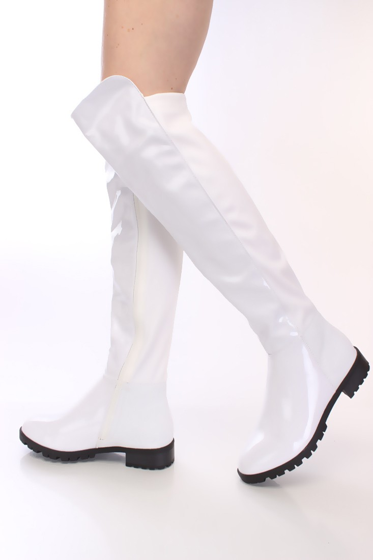 white knee high boots white knee high riding boots patent nylon agpfmbd