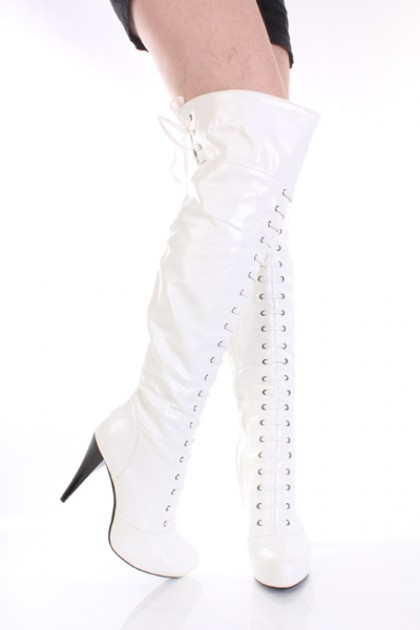white knee high boots white patent faux leather lace up buckle knee high boots / sexy clubwear | zjcpwpq