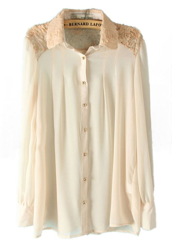 white lace patchwork lapel long sleeve chiffon blouse obcckhw