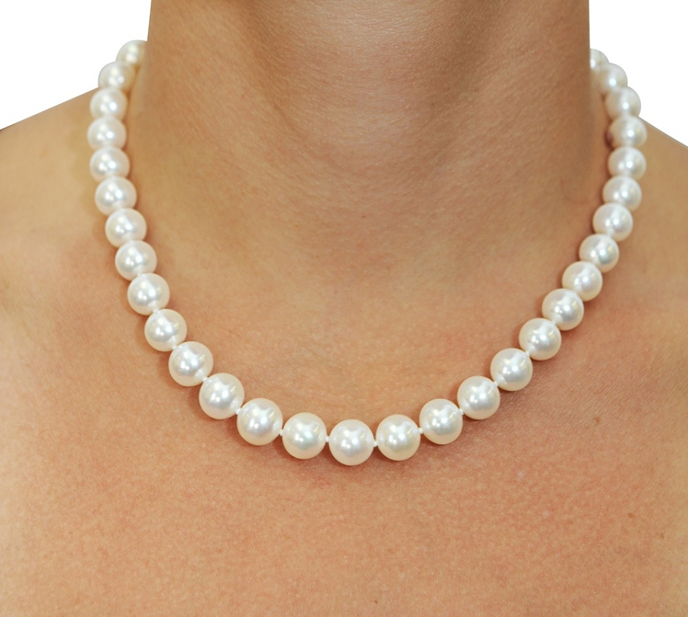 white necklace 10-11mm white freshwater pearl necklace- aaaa quality xswrapj