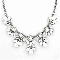 white necklace stone bib necklace - white floral necklace gqscwra