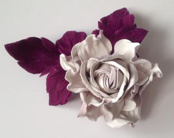 white off leather flower brooch,handmade flower, leather flower, bridesmaid  flower, mother hsawldm
