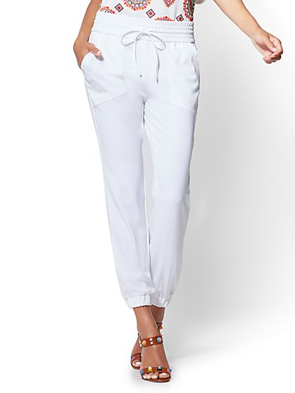 white pants for women drawstring-tie jogger pant - white - new york u0026 company ... cyzxdiy