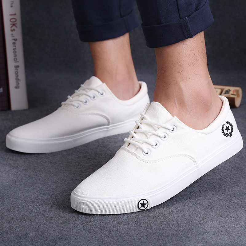 white shoes for men new men flat shoes spring/autumn black white man casual lace up canvas shoes  daily iosfscq
