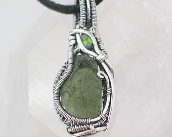 wire wrapped jewelry moldavite pendant with chrome diopside wire wrapped pendant heady wire wrap  moldavite wire wrap mcpasix