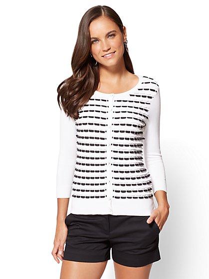 women cardigan 7th avenue - chelsea crewneck cardigan - scallop knit - new york u0026 company kphokgv