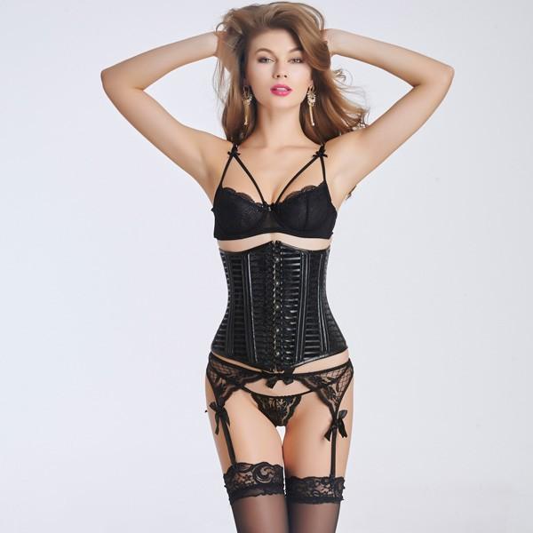womenu0027s sexy black plastic boned front steel busk underbust corset cf6032  black ... qcnrqwr