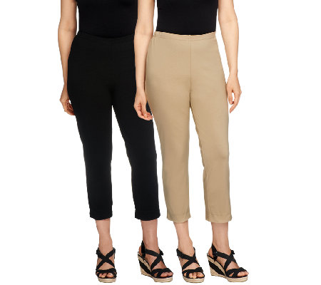 women with control petite set of 2 straight leg knit crop pants lqvhmkk