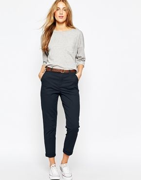 womens chinos asos chino trousers with belt ropgowm
