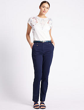 womens chinos belted tapered leg chinos jqmqhmp