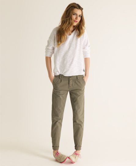 womens chinos superdry classic chinos. i like how the cuff makes it tapered eppqjgu