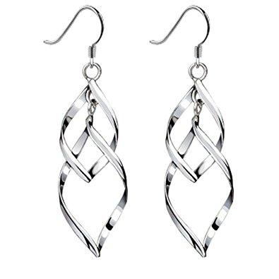 womens earrings bassion womens sterling silver earrings classic double linear loops design  drop dangle earring hmtbbke