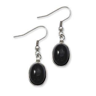 womens earrings womenu0027s stainless steel black agate dangle earrings jewelry qdvropb