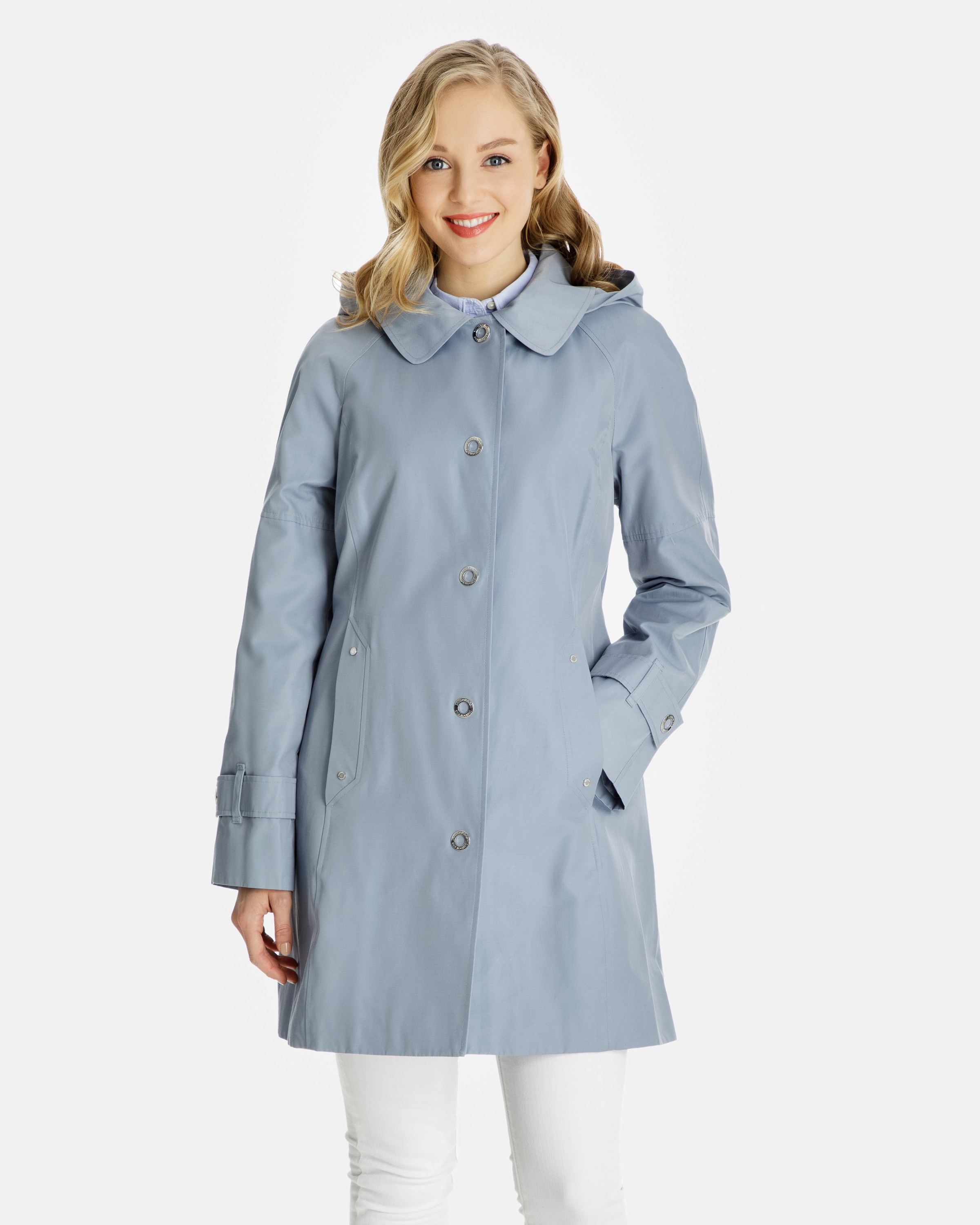 womens rain coat beth snap-front raincoat with removable hood czjvprp