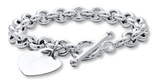 womens silver bracelets ladies solid sterling silver heart u0026 t bar link bracelet uiaqqub