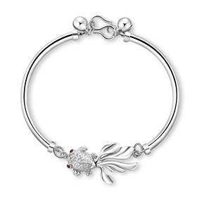 womens silver bracelets womenu0027s fashionable goldfish 925 sterling silver bracelets bangles gift for  her, anniversary, birthday, kxabvci