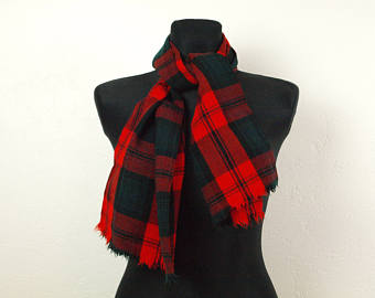 wool scarf, scarf, red tartan scarf, scottish pattern scarf, plaids and  check ulovytc