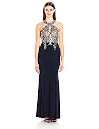 xscape dresses xscape womenu0027s long gown with emb/bead halter top uxkxttg