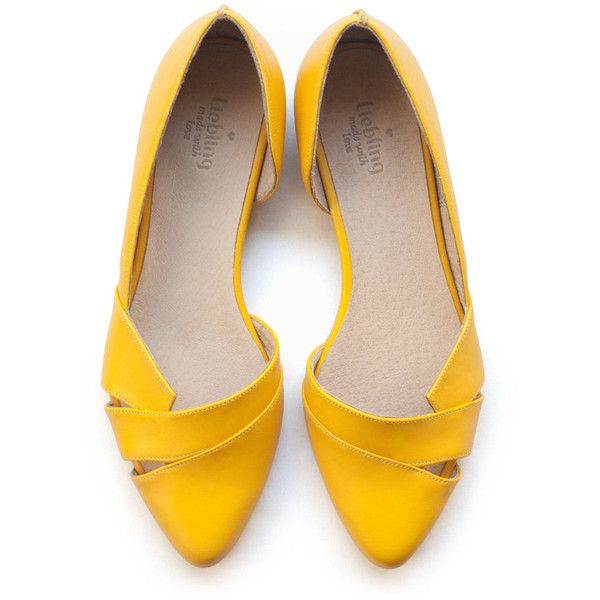 yellow flats, women shoes, yellow shoes, handmade. rndxlxq