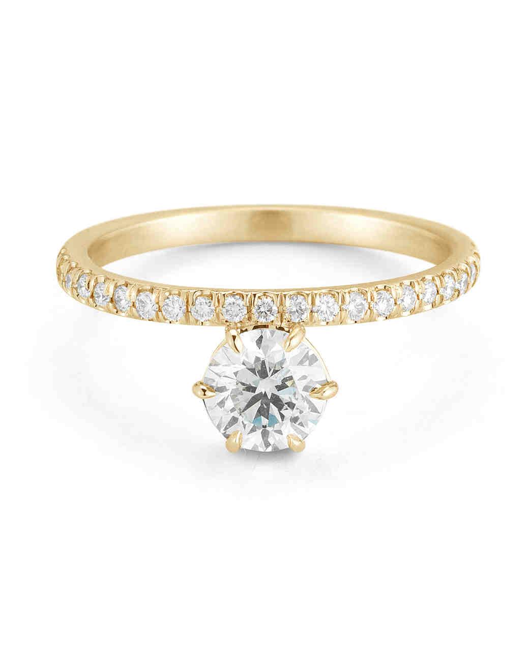 yellow gold engagement rings | martha stewart weddings zfcfgqt