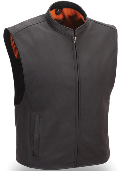 zip front club patch leather vest sievpbf