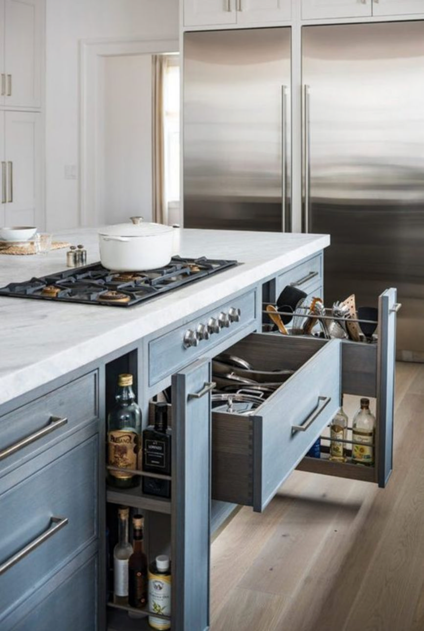 Make a small kitchen even bigger by adding the hidden cabinets and drawers 14.  maximize
