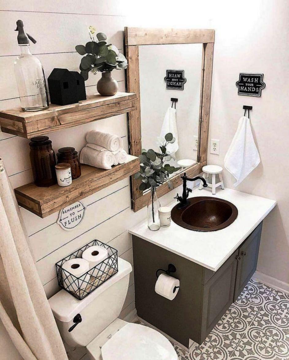 Attractive Rustic Bathroom Farmhouse Design Decor Ideas for Home Use 19th Century
