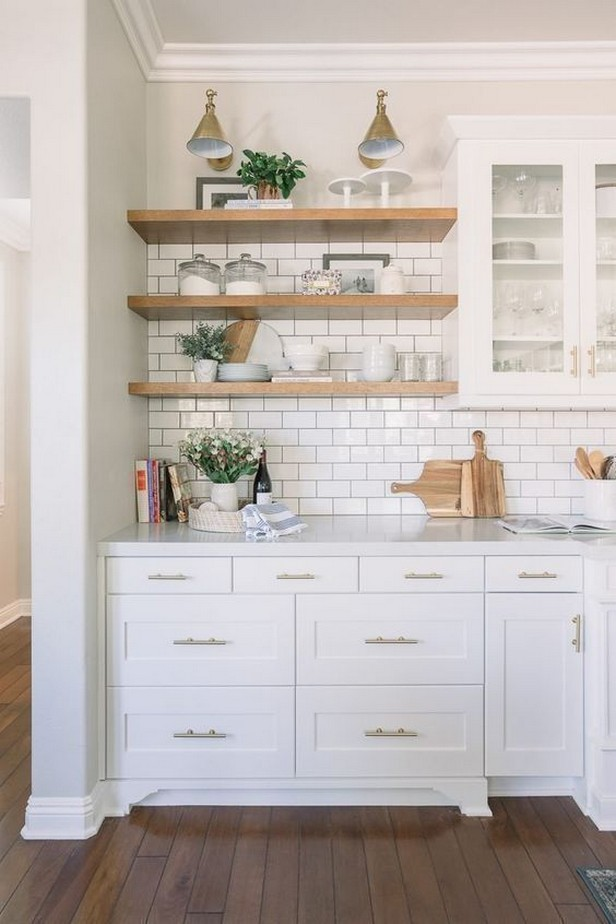 55 cleverly organized ideas for white kitchen shelves 3