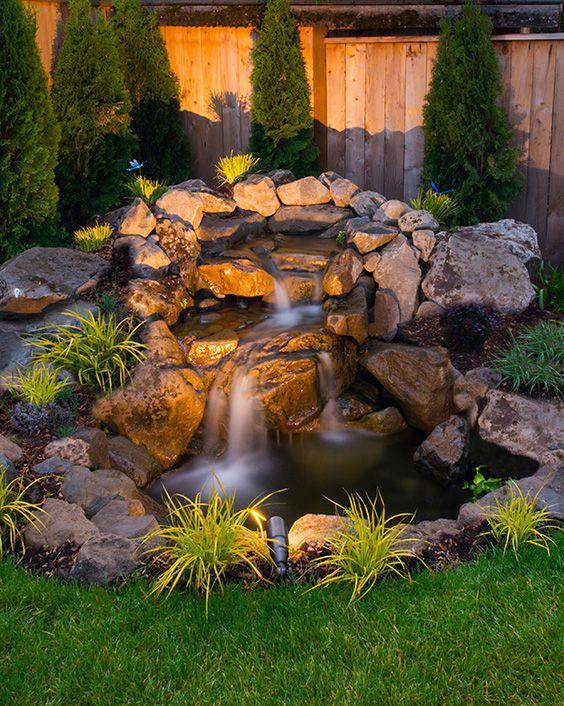 Backyard Waterfall Garden Landscaping   Ideas