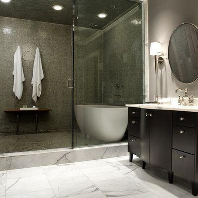 Bathroom Design With Walk-In Shower And   Freestanding Bathtub