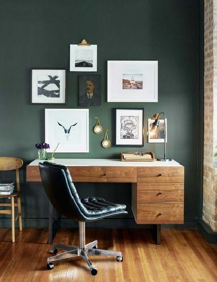 Black wall trend home office design ideas 21 | homezide