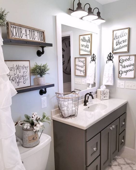 DIY Bathroom Remodel - From Pink to Farmhouse One Room Challenge .
