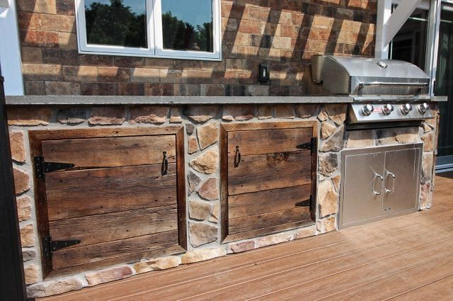 TimberTech Deck with Barnwood Kitchen | Rustic kitchen, Rustic .