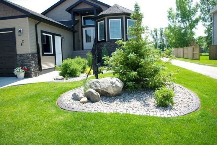 50 Amazing Front Yard Rock Garden Ideas   Large yard landscaping .
