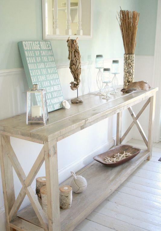 "White console table wood rustic furniture ""Renaissance.&quot ."