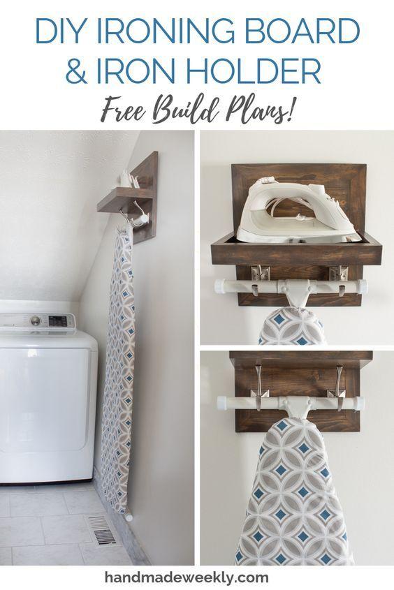 DIY Ironing Board & Iron Holder - Handmade Weekly   Laundry room .
