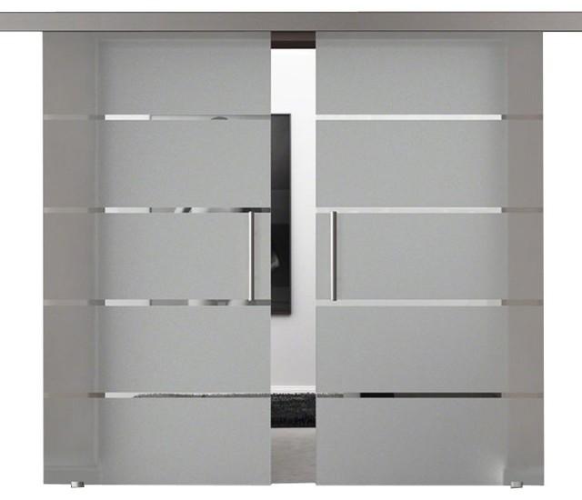 Modern European Double Sliding Glass Barn Doors - Contemporary .