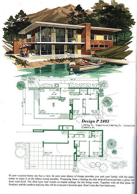 P2403 | Mid century modern house plans, Vintage house plans .