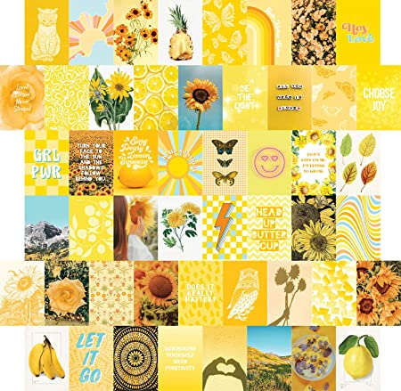 Amazon.com: Yellow Wall Collage Kit Aesthetic Pictures 50 set .