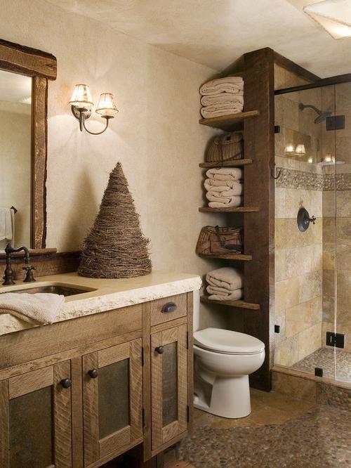 Rustic Bathroom Design Ideas - The Home Builders | Rustic bathroom .
