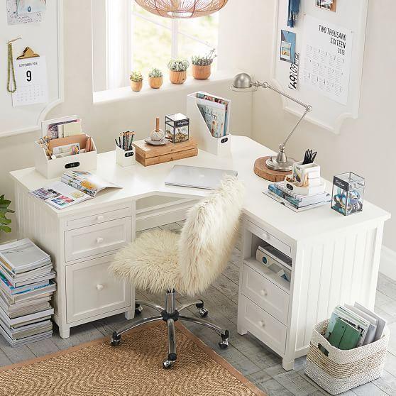 Beadboard Smart Corner Desk | Home office design, Bedroom design .