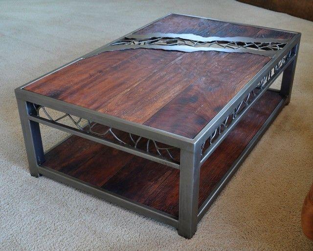 Stunning Wooden Metal Coffee Table