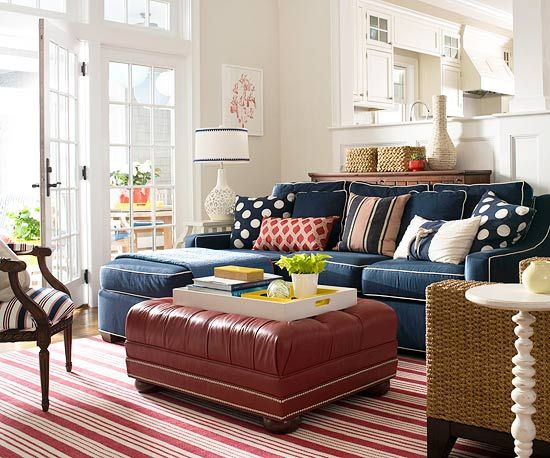 Decorating in Blue   Traditional living room, Family room design .