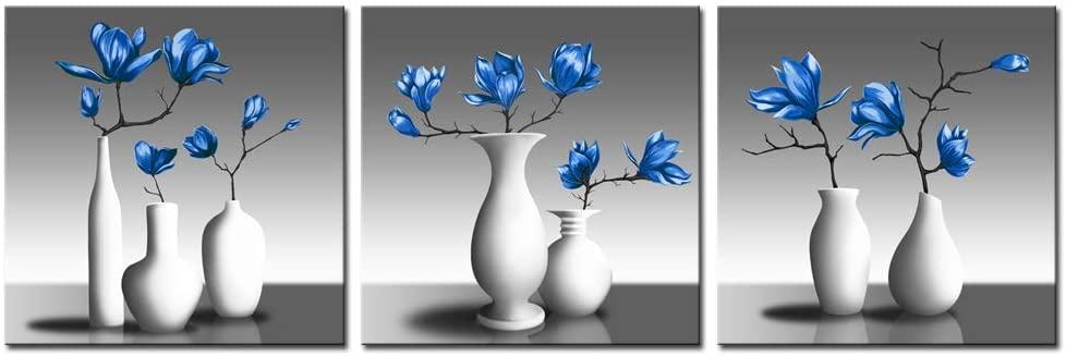 Amazon.com: sechars 3 Piece Floral Wall Art Royal Blue Magnolia .
